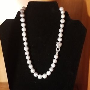 """Jewelry - Baroque Gray Pearl Necklace 18"""" with Leopard Clasp"""